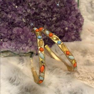 """Gypsy Goldtone Hoop Earrings Imbedded w/""""Jewels"""""""